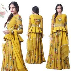 A mustard Anarkali featuring hand embroidered detachable corset belt and organza cuffs in our signature print. Choli Blouse Design, Sari Blouse Designs, Designer Blouse Patterns, Lehenga Designs, Kurta Designs, Designer Dresses, Indian Attire, Indian Ethnic Wear, Indian Dresses