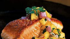 Pan-Grilled Salmon with Pineapple Salsa | From turkey burgers to banana smoothies, these simple calorie-burning recipes will help you lose weight fast.