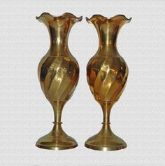 Vintage Solid Brass Bud Vases Collectible by BackNTimeVintage, $18.00
