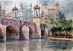 Puente del Mar de Valencia. Hoy puente peatonal sobre el rio Turia conocido como: el Jardín del Turia.Juan Albandea.