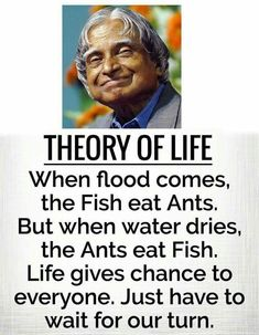 Apj quotes - When Flood comes, the fish eats ants but when water dries, ants eat fish Apj Quotes, Motivational Picture Quotes, Inspirational Quotes Pictures, Qoutes, Life Lesson Quotes, Real Life Quotes, Reality Quotes, Study Motivation Quotes, Genius Quotes
