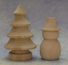 Wood Snowman and Christmas Tree Set of 2 by SupplyandDesign