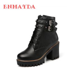 Find More Ankle Boots Information about ENMAYDA Women High Heels Ankle Boots for Women Shoelace Martin Boots Black Shoes Woman Platform Winter Boots Zapatos Mujer,High Quality heel skate,China heel platform boots Suppliers, Cheap heel lifts for shoes from E&R Chengdu Ying Meier Shoes CO., LIMITED on Aliexpress.com