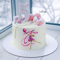 Discover recipes, home ideas, style inspiration and other ideas to try. Ice Skating Cake, Gymnastics Birthday Cakes, Types Of Birthday Cakes, Drippy Cakes, Fondant Cake Designs, Girly Cakes, Ballerina Cakes, Baby Girl Cakes, Painted Cakes