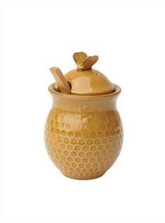 Stoneware Honeycomb Honey Jar w/ Wood Honey Dipper, Gold
