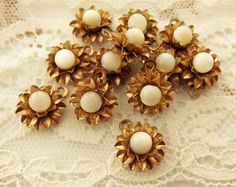 Vintage Patina Brass Flower & Mother of Pearl Charms Drops Findings - 4 by alyssabethsvintage on Etsy