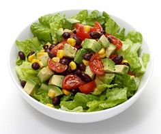 Fiesta Bowl Salad- black beans (drained and rinsed), avocado, corn (drained), cherry tomatos, lime juice and salt...all over romaine lettuce.