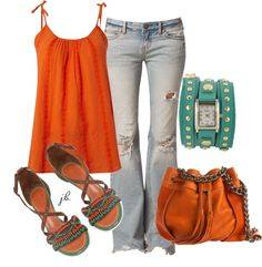 """Aqua and Orange"" by jliz516 on Polyvore"