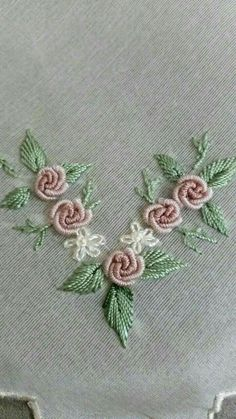 Brazilian Embroidered Roses & Satin stitch leaves
