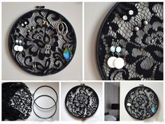 Um bastidor de bordar com renda, ótima ideia para organizar seus brincos.