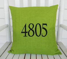House Number Outdoor  Pillow Cover  in Green 16x16