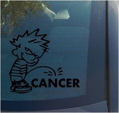 Calvin Piss on Cancer Vinyl Decal Sticker Funny Peeing Ribbon Car Window Bumper   eBay