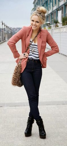 Denim, stripes and blazer combination for work. Absolutely love how everything ties together. LETS GO FALL (: