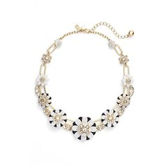 kate spade new york 'shadow blossoms' necklace ($153) ❤ liked on Polyvore featuring jewelry, necklaces, white, blossom jewelry, white flower necklace, flower necklace, white jewelry and white necklace
