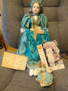 "15"" Handmade Budapest, Cloth Doll Porcelain Head By Judit Folklor W/ SMALL DOLL #Dolls"