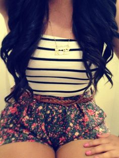 High wasted floral print shorts with striped Tank