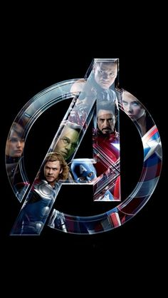 Avengers logo with heroes on it