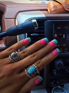 Fingernail Designs, Diy Nail Designs, Colorful Nail Designs, Colorful Nail Art, Hot Nails, Pink Nails, Hair And Nails, Belle Nails, Nails Today