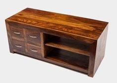 Indyjska kolonialna szafka pod telewizor stolik RTV 120x50 2 półki i 4 szuflady palisander rosewood shesham