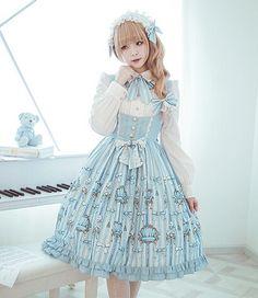 Sweet *Bear Throne* Printed Cotton Lace Corset Bowknot JSK Lolita Dresses