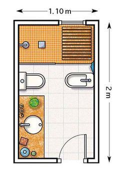 Дизайн-проект узкой вытянутой ванной