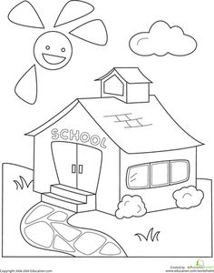 Print coloring page and book, Glue School Coloring Pages