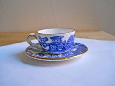 Coalport Willow Miniature Cup and Saucer by HeyVera on Etsy, $40.00