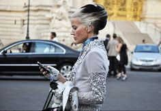 Awesome Cruella de Ville hair. Age ain't nothin but a #!