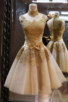 f25dbe229dc4 Sparkly High Neck Gold Lace Homecoming Dresses,Gorgeous Cocktail  Dresses,Beautiful Handmade Graduation Dresses With Bow Belt sold by Belle  Dress.