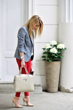 Red skinny pants & denim like blazer