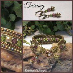 TUSCANY 5 Row Leather Wrap Cuff Bracelet  by RavengirlDesign