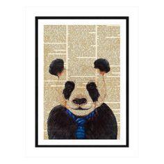 Affiche imprimée encadrée Panda Artwork, beige et noir, 50x70x1,5 cm Branding Design, Creations, Artwork, In This Moment, Panda, Poster, Motifs, Beige, White People