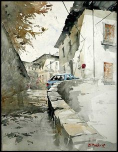 by Kegriz Rafal Watercolor Drawing, Watercolor Landscape, Watercolor Illustration, Landscape Paintings, Watercolor Images, Watercolor Architecture, Photo D Art, Guache, Urban Sketching