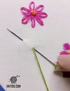Fabric flowers are great, aren't they? We welcome you to these pages for fabric models, flower making videos and sewing descriptions. Braid / crocheted flowers are also great, Don't forget them, there are great examples there too. Diy Embroidery Patterns, Hand Embroidery Videos, Embroidery Stitches Tutorial, Hand Embroidery Flowers, Simple Embroidery, Beaded Embroidery, Machine Embroidery, Crochet Flowers, Fabric Flowers