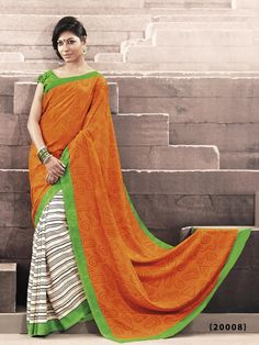 Orange Color Stripe Printed Designer Bhagalpuri Saree With Green Color Blouse Silk Sarees Online Shopping, Bride Poses, Indian Beauty Saree, Color Stripes, Stripe Print, Fashion Outfits, Womens Fashion, Party Wear, Chiffon