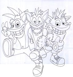 Line art of Crash Bandicoot (including the one from TwinSanity and Titans)