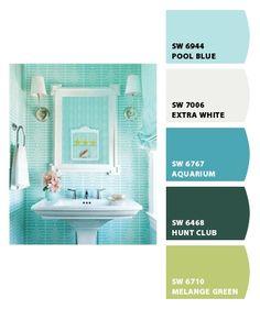 idea for powder room, bead board & pedistol sink--turquoise bathrooms | Turquoise bathroom Chip It tool