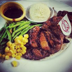 Sirloin steak with blackpepper sauce.. Well done so yummy....