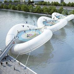 the #trampoline #bridge was a proposal to provide a more playful and fun path across the river seine in paris by AZC architecture studio. #designboomreaders @azc_architecture  see the bouncy scheme on #designboom and more #bridgedesigns!