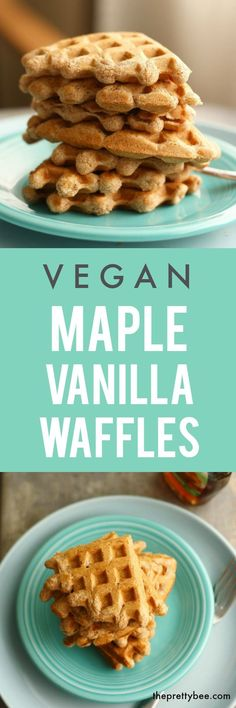 These vegan maple vanilla waffles are so delicious for a weekend breakfast!