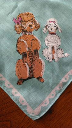 Vintage Poodle Handkerchief Rhinestone Aqua Turquoise Perfect by perfectmomentpillows on Etsy