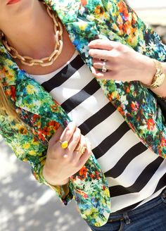 Stripes & floral pattern mixing.