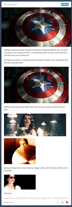 I think this has been really over thought but props to marvel for leaving peggys bullet holes there...Captain America