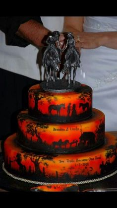 This Is Such A Cool Country Cowboy Cow Wedding Cake