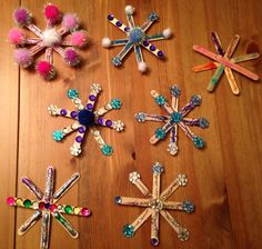 Popsicle Stick Snowflake Crafts