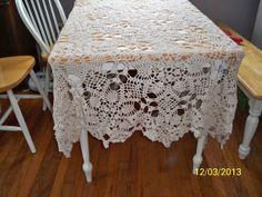 New Handmade Crocheted Tablecloth extra by LynnsCraftsJewelry, $100.00