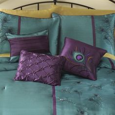 Peacock Bedding and Window Treatments from Midnight Velvet®. Exotic peacock feather embroidery embellishes a bedding collection like no other, on shimmering, deep teal with dark plum accents. Peacock Bedding, Plum Bedding, Peacock Bedroom, Peacock Pillow, Peacock Decor, Peacock Colors, Peacock Theme, Peacock Design, Plum Bedroom