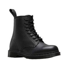 Dr. Martens 1460 8-Eye Boot (680 HRK) ❤ liked on Polyvore featuring shoes, boots, ankle booties, black, casual shoes, black combat boots, dr martens boots, distressed black boots, slip resistant boots and distressed boots