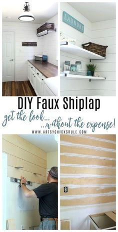 Installing shiplap in your home shouldn't be exhaustive OR expensive! Learn how we did our DIY faux shiplap, the easy (and inexpensive) way! Today I'm back with the DIY Faux Shiplap tutorial. In case you Home Remodeling Diy, Home Renovation, Cheap Remodeling Ideas, Kitchen Remodeling, Home Improvement Projects, Home Projects, Home Improvements, Cheap Home Decor, Diy Home Decor