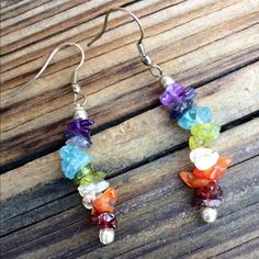 🌻SALE🌻Gemstone Chakra Earrings Chakra Earrings Silver Earwires Jewelry Earrings